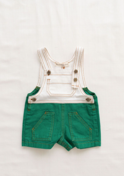 Fin & Vince Denim Short Overall in Emerald