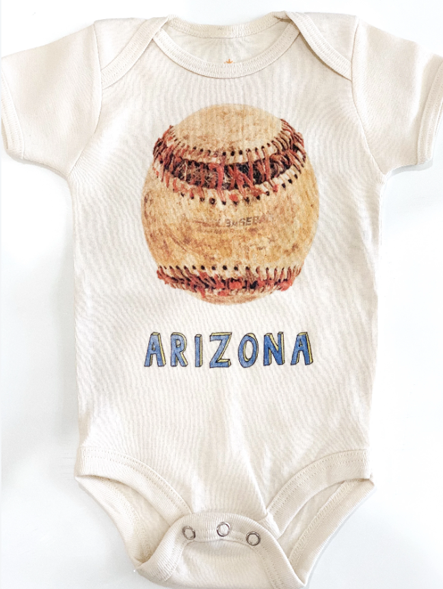 Orange Heat | baseball onesie | natural