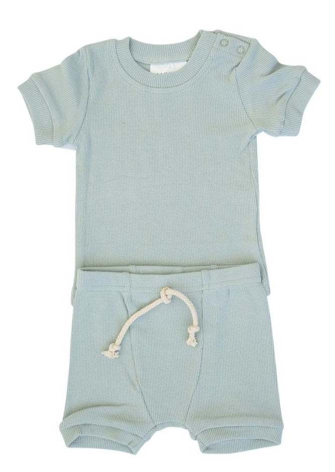 Mebie Baby | Ribbed Two Piece Short Set | Sea