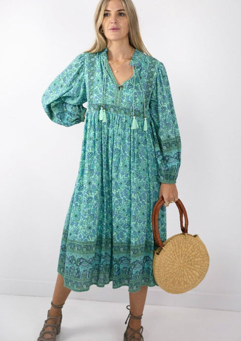 Spell & Gypsy Collective Sundown Boho Dress Turquoise