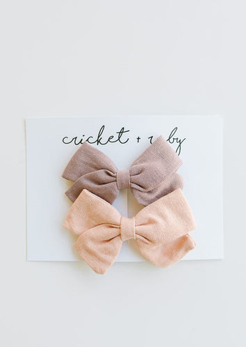 Cricket + Ruby | Linen Bow Clip | 2 pack