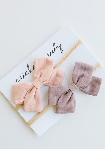 Cricket + Ruby | Linen Bow Headband | 2 pack