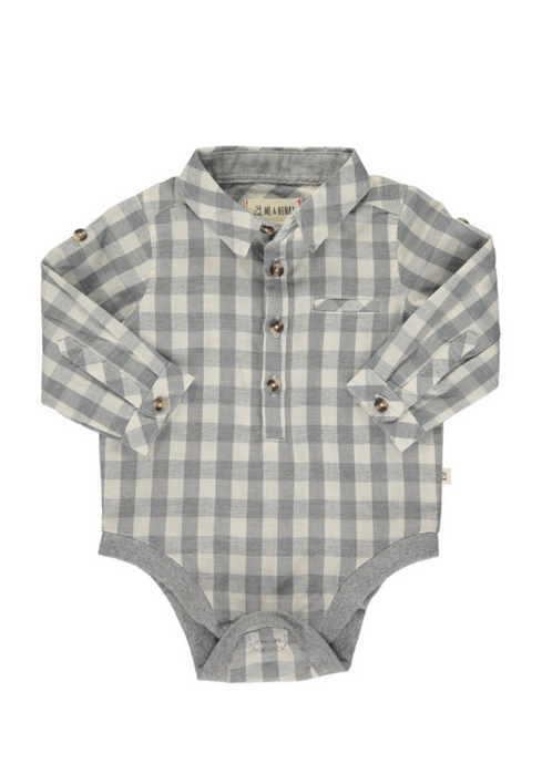 Me & Henry | Woven Onesie | Grey Plaid PREORDER
