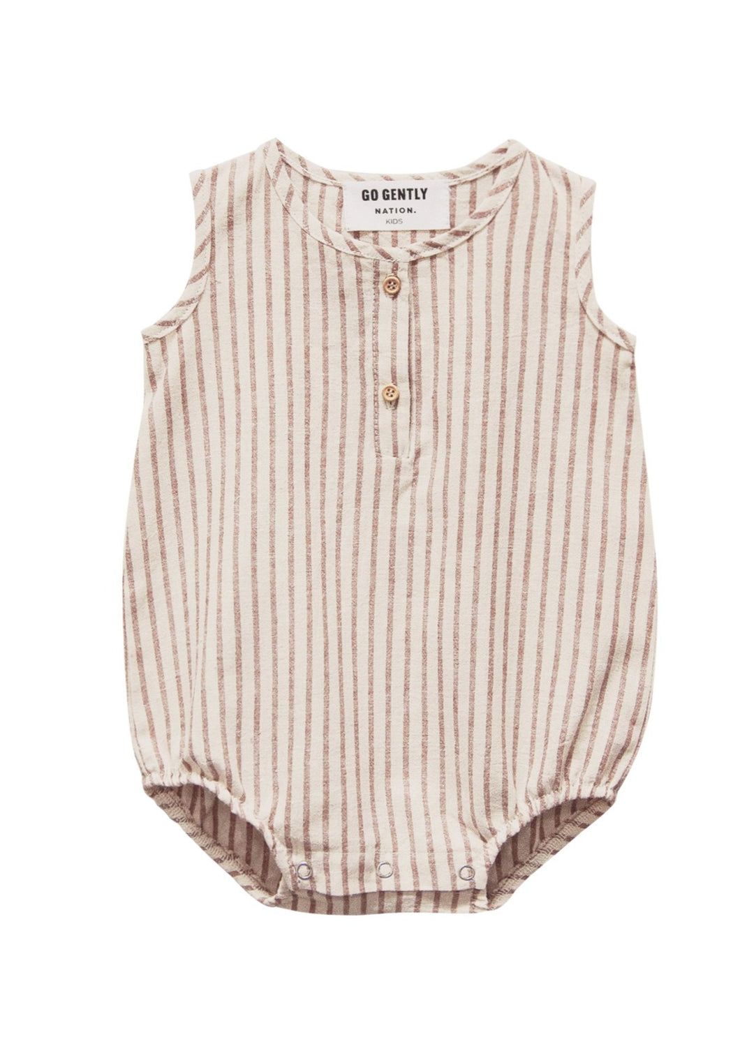 Go Gently Nation | Woven Tank Onesie | Hazelnut Stripe