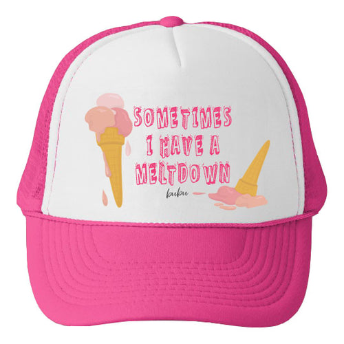 Bubu - Melt Down White / Hot Pink Trucker Hat