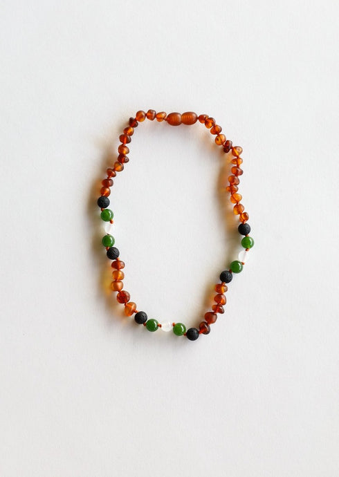 Copy of CanyonLeaf - Kids: Raw Cognac Amber + Lava + Jade + Agate || Necklace