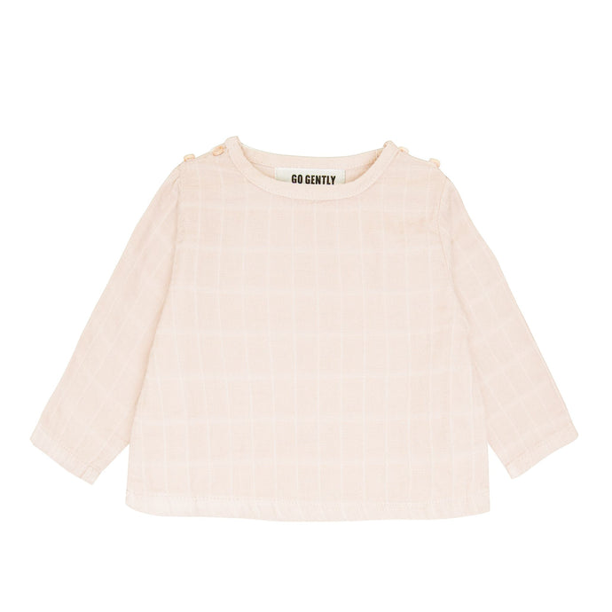 Go Gently Nation | Gauze Double Button Top | Pink Tint