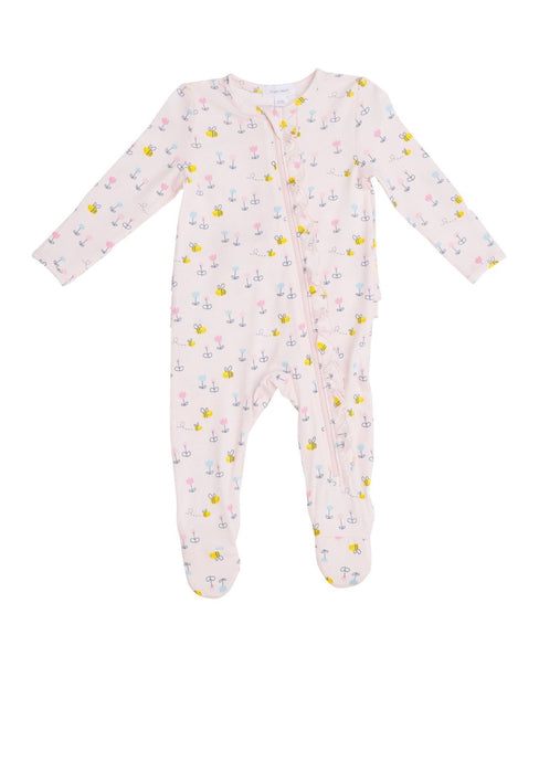 Angel Dear Ruffle Front Zipper Footie Little Bees