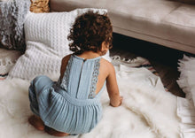 City Mouse Muslin Lace Back Long Romper Stillwater