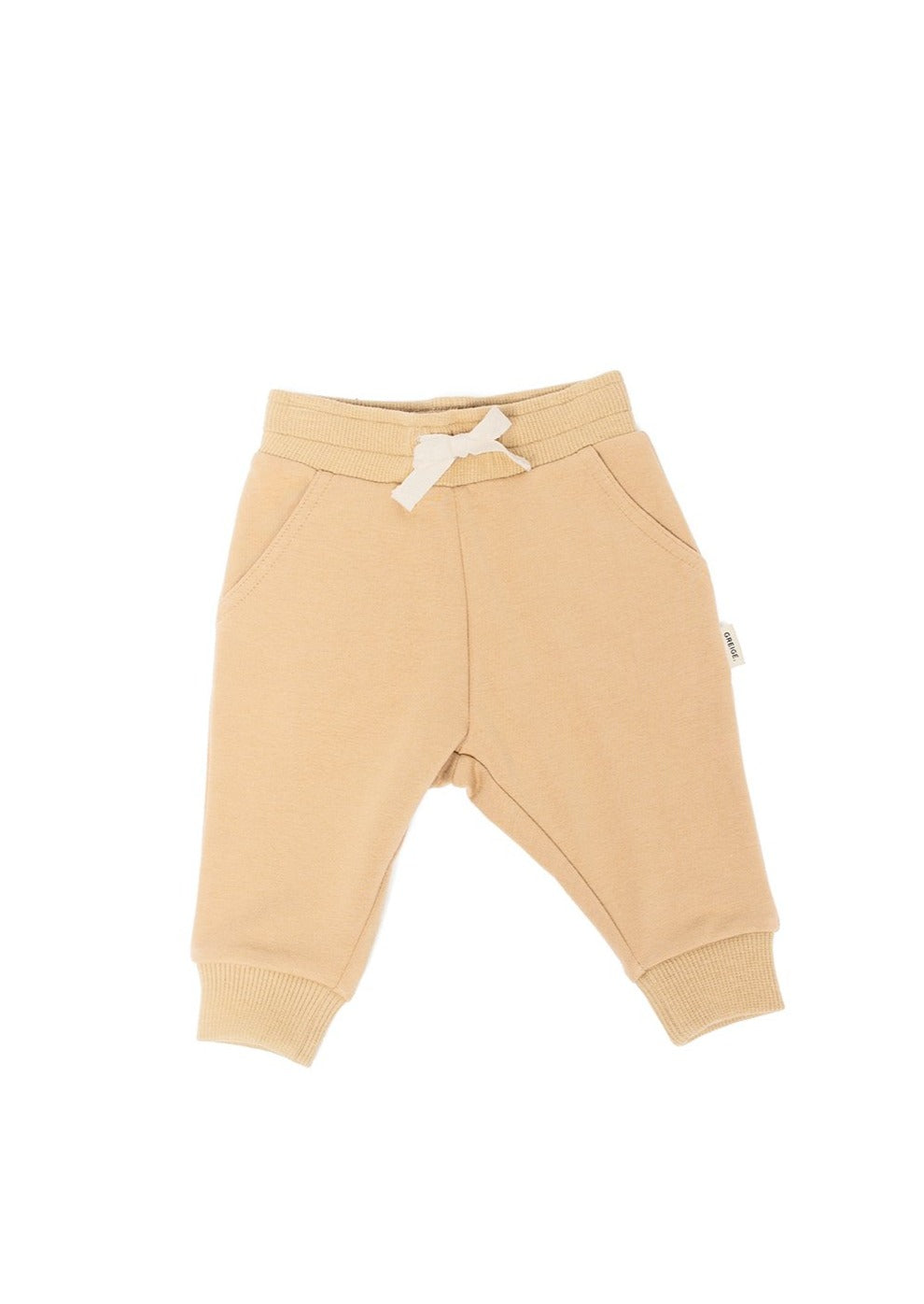 Greige Bamboo Fleece Sweatpants in Tan