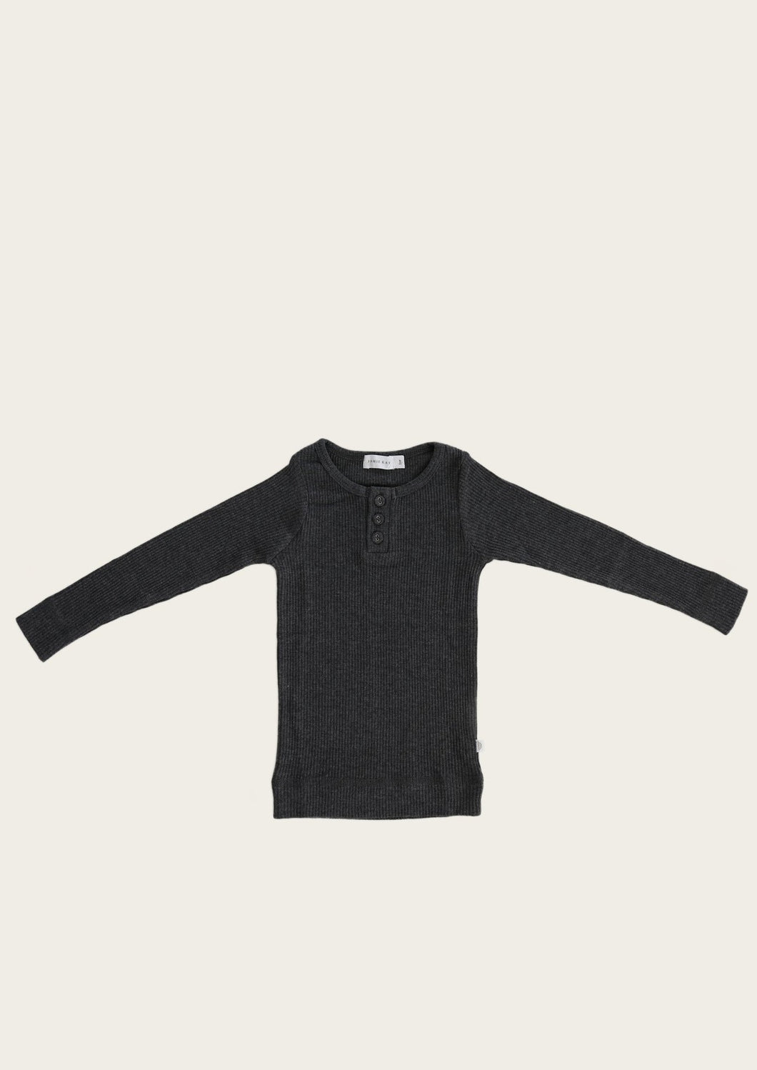 Jamie Kay organic cotton henley dark grey marle