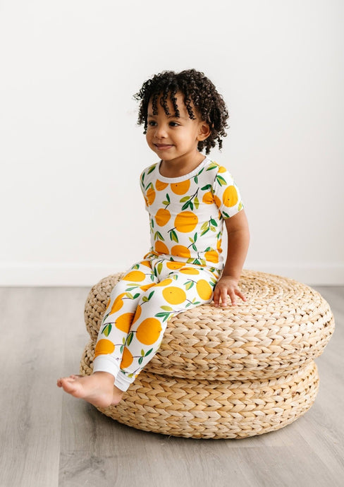 Little Sleepies Two Piece Bamboo Pajama Set Clementines