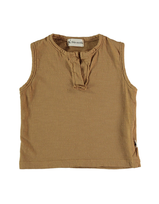 my little cozmo organic cotton flame tank in peanut