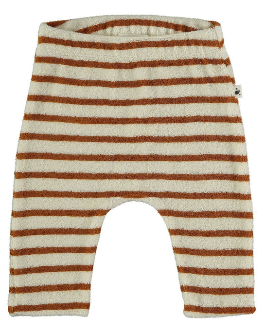 My little cozmo organic cotton towling pants in peanut