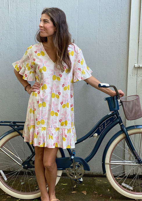 Pink Chicken Halsey Dress Antique White Lemons