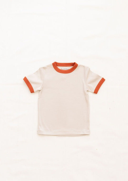 Fin & Vince Vintage Tee in Oatmeal Red Rock Trim