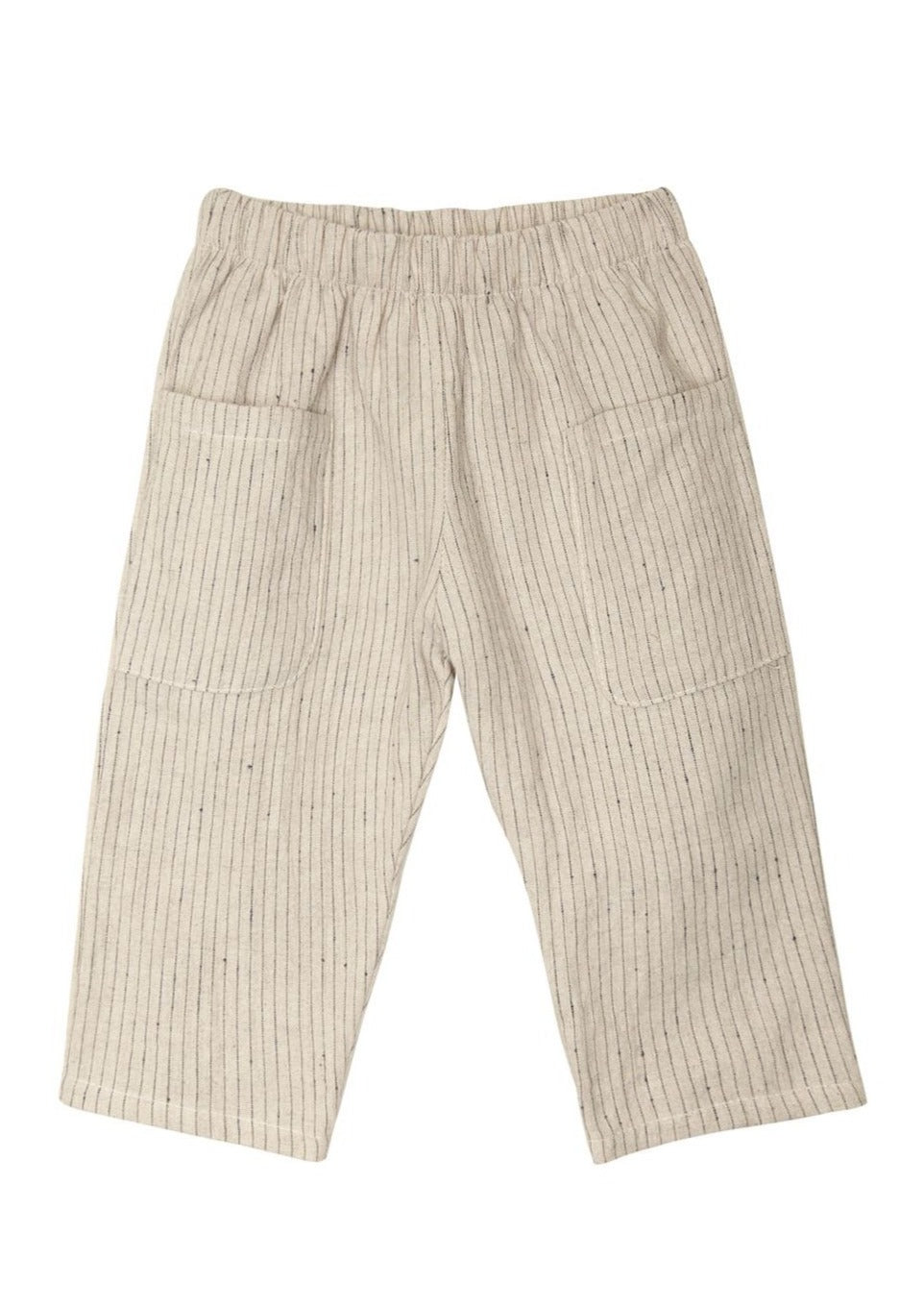 go gently nation woven pocket pant flax with navy stripe