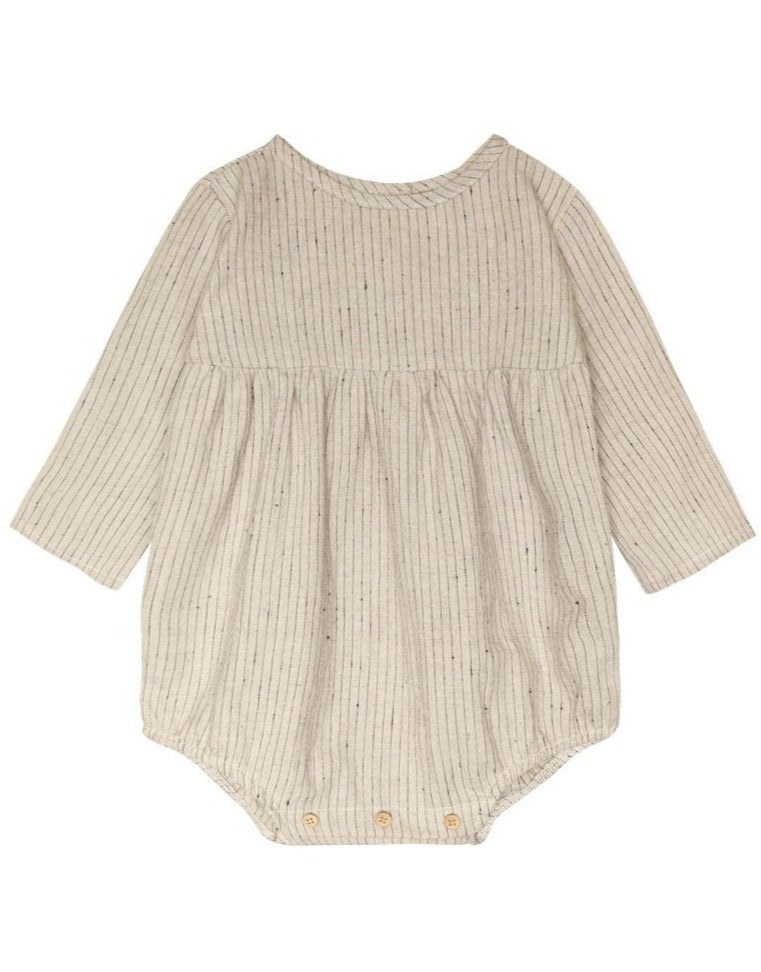 Go Gently Nation Woven Prairie Romper Flax with Navy Stripe