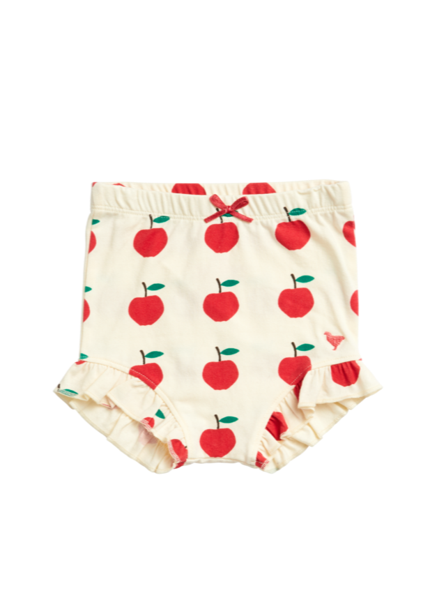 Pink Chicken organic diaper cover in white antique Apples