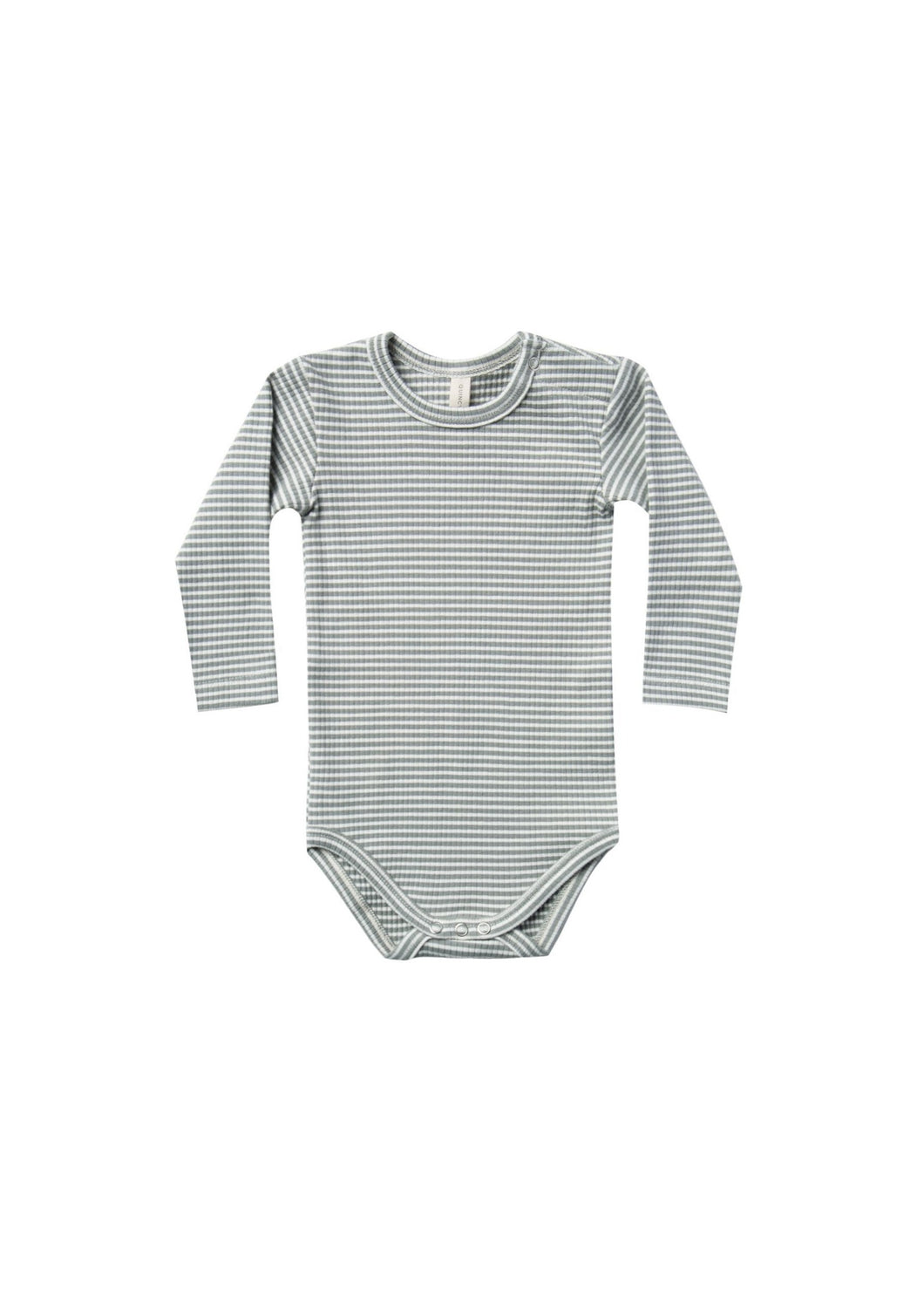 Quincy Mae | Ribbed Long Sleeve Onesie | Eucalyptus Stripe