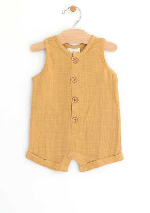 City Mouse Woven Muscle Tank Romper Straw