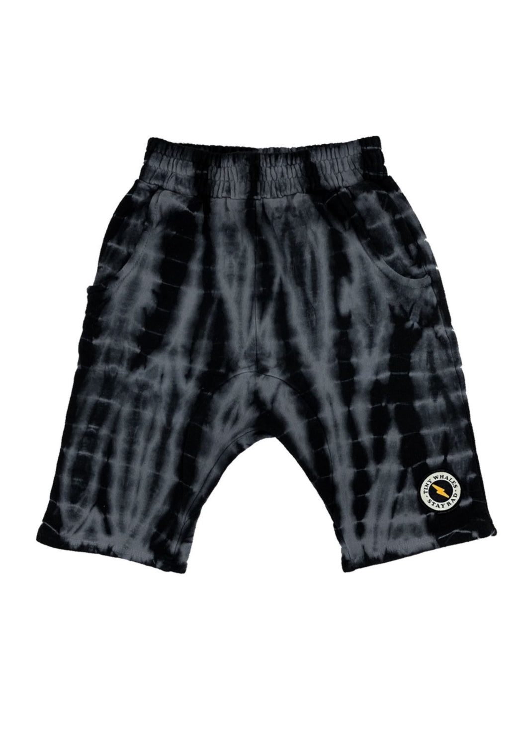 Tiny Whales Have A Rad Day Cozy Shorts Black Tie Dye