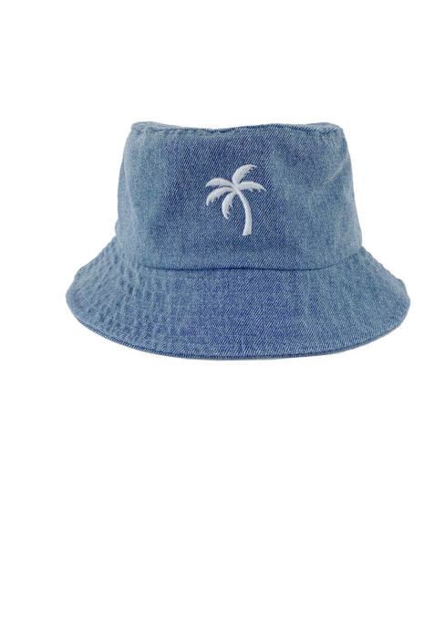 Tiny Whales Palms Bucket Hat Washed Denim