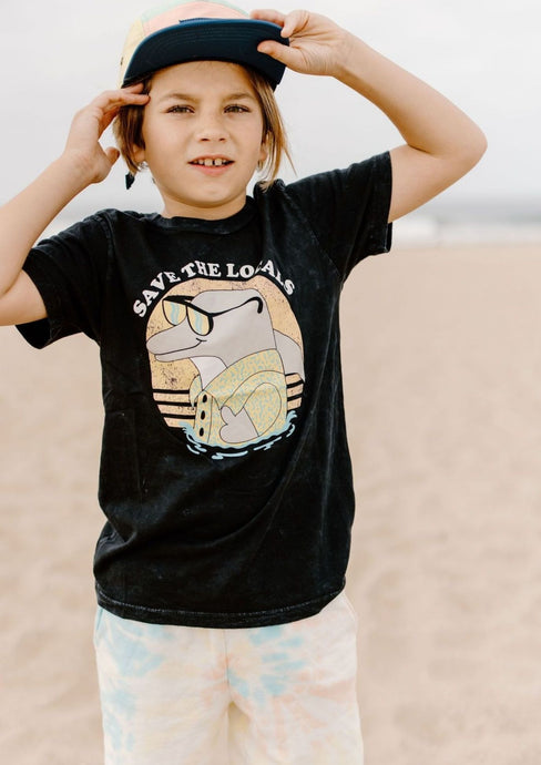 Tiny Whales Save the Locals Tee Black