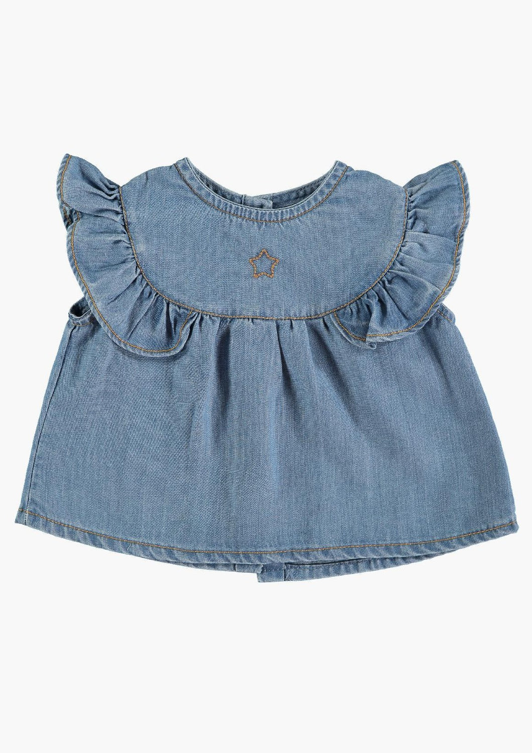 Tocoto Vintage | ruffle blouse | light denim