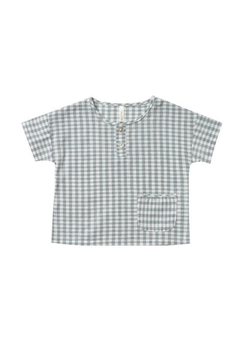 Rylee and Cru | Woven Henley Tee | Gingham