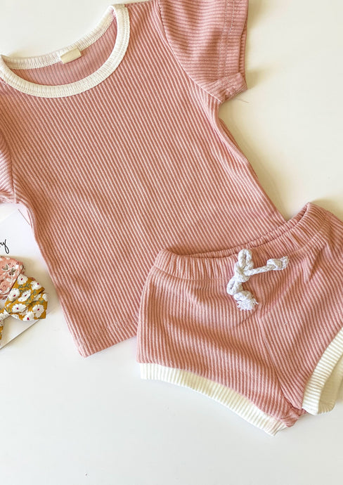 Cricket + Ruby | ribbed shorties set | blush