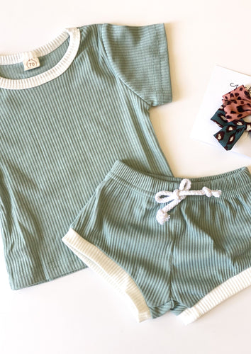 Cricket + Ruby | ribbed shorties set | sea foam
