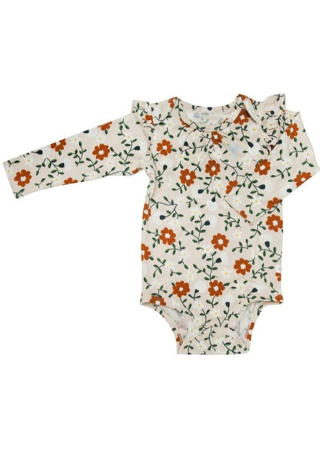 Loulou Lollipop | Girls Long Sleeve Bodysuit | Flower Vine