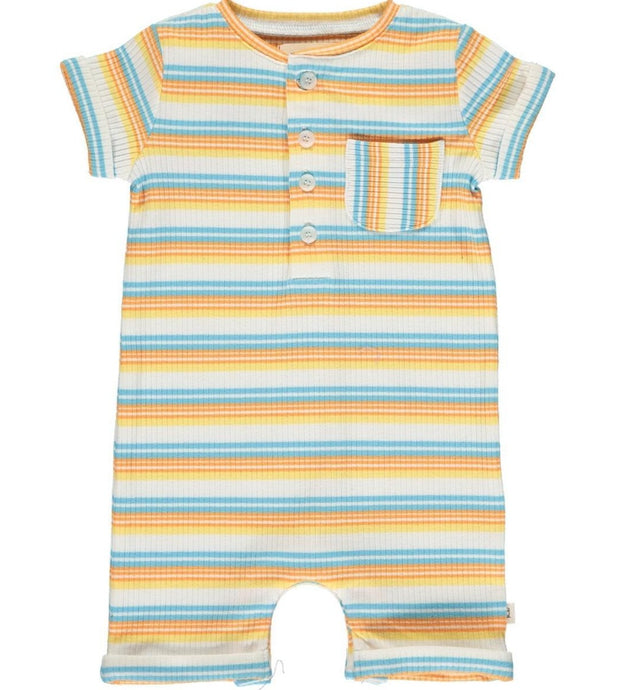 Me & Henry Camborne Henly Romper in Papaya Stripe