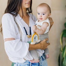 Chewable Charm | Rainbow Macrame Teether | Mustard + Grey
