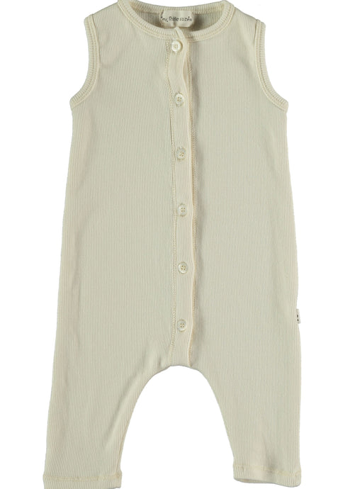 My Little Cozmo Organic Cotton Ribbed Jumpsuit Ivory