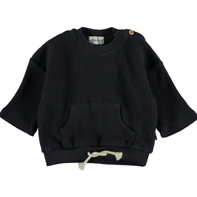 My Little Cozmo Organic Cotton Waffled Sweatshirt Dark Blue