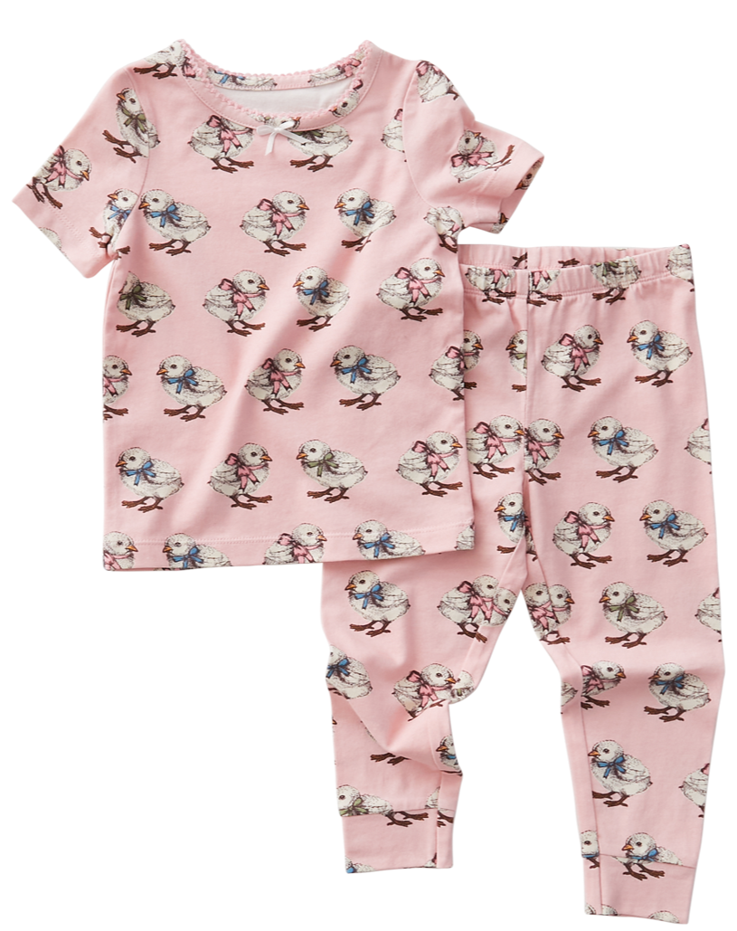 Pink Chicken Spring PJs in Strawberry Cream Chicks