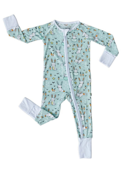 Little Sleepies Mint Bunnies Bamboo Zippy