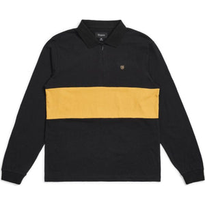 HUNT 1/4 ZIP L/S POLO KNIT - BLACK