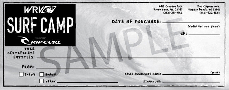 3-DAY MORNING SURF CAMP GIFT CERTIFICATE