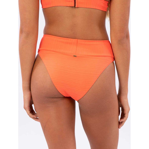 Premium Surf High Waist Cheeky Bikini Bottom in Hot Coral