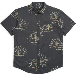 Charter Print S/S Woven - Washed Black