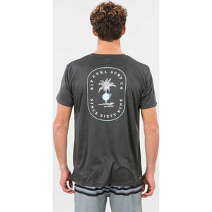 Black Hole Short Sleeve Surf Tee in Black Marle