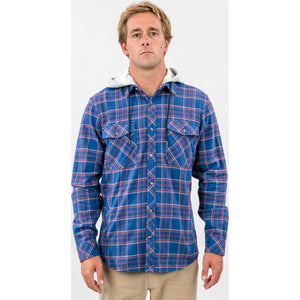 Jalama Hooded Long Sleeve Flannel in Blue