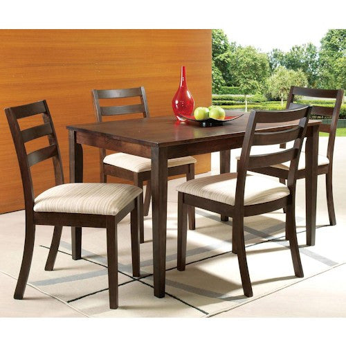 Acme Furniture Tacoma Casual Five Piece Rectangular Table and Cushioned Side Chairs Set