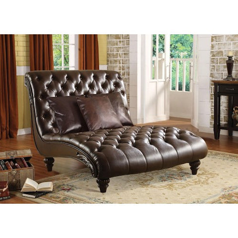 Acme Furniture Anondale Traditional Tufted Chaise Lounge W/3 Pillows