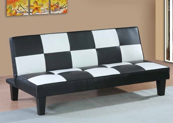 Black and White Checkered Sleeper Sofa by Furniture World