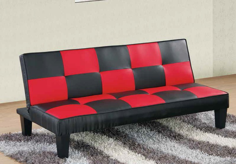 Black And Red Checkered Sleeper Sofa By Furniture World