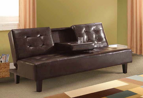 Brown Sleeper Sofa with Cup Holders by Furniture World